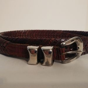 Mens Cale,Brown Fishtail Braided Reptile Belt 44""